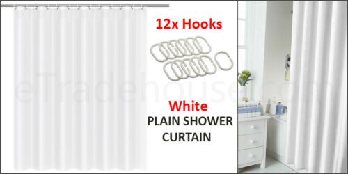 BATHROOM LONG PLAIN SHOWER CURTAIN WATERPROOF WITH 12 HOOKS RING SET UK SELL