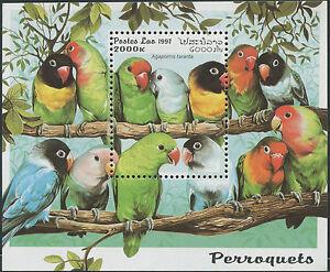 LAOS-Bloc-N-137-Bf-Oiseaux-Perroquets-1997-Bird-Parrots-Miniature-Sheet-NH
