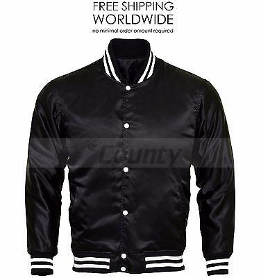 Sonderabschnitt College Baseball Letterman Varsity Bomber Jacket Supreme Quality Black Satin