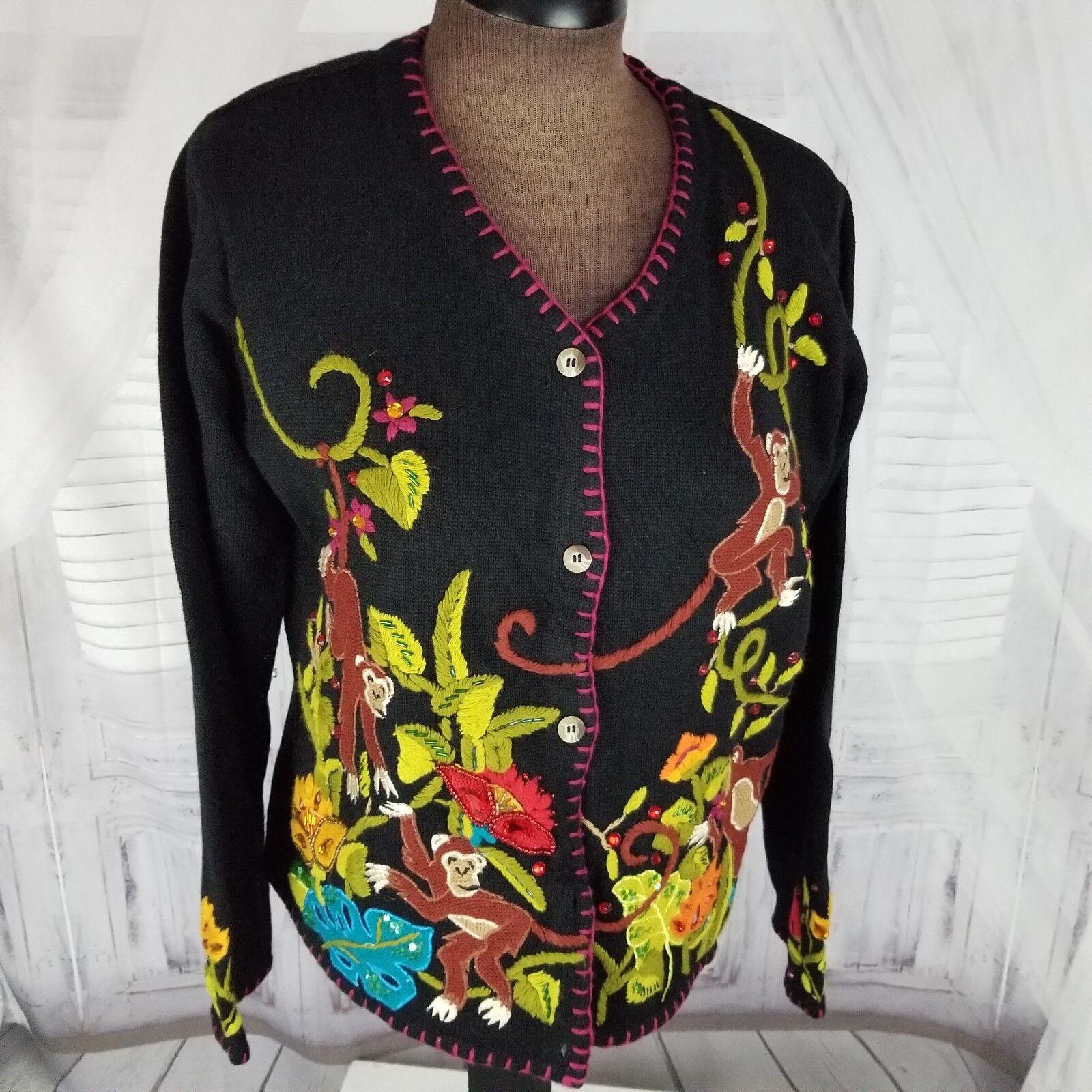 In the Dream Garden button sweater coat knit M women shirt monkey cardigan NEW