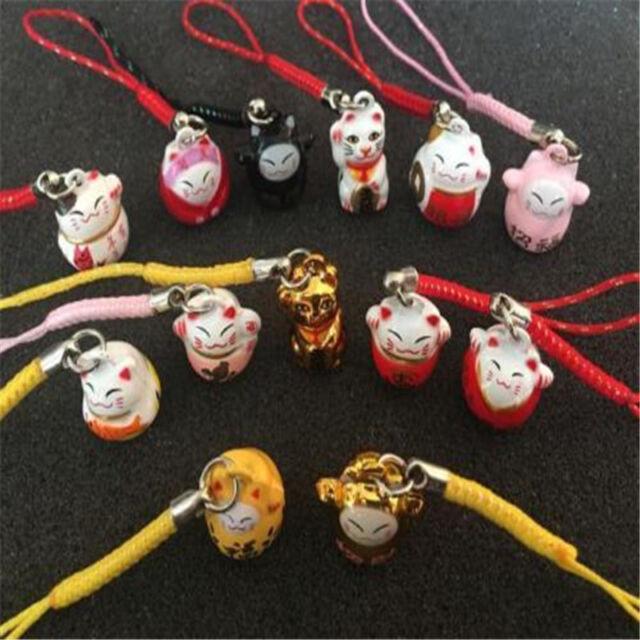 X15 Random Maneki Neko Fortune Lucky Beckoning Cat Keyring Keychain Key Rings \