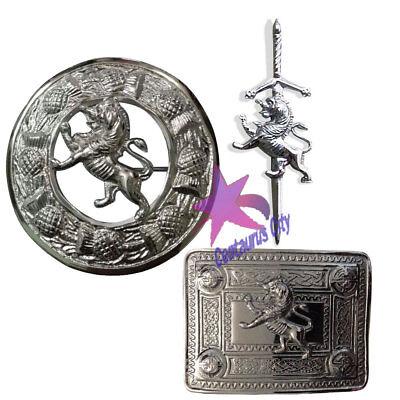 Cc Kilt Pin Cintura Fibbia & Fly Plaid Spilla Leone Rampante Distintivo Set Prendiamo I Clienti Come Nostri Dei