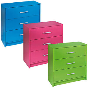 Details About New York 3 Drawer Wooden Chest Bedroom Furniture Storage Cabinet Kids Drawers