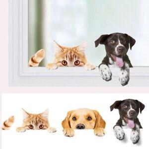 Wall-Stickers-Vinyl-Cute-3D-Dog-Cat-Bedroom-Fridge-Decal-Home-Mural-Art-Decor