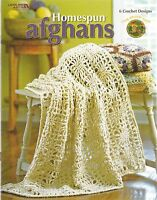 Homespun Afghans Crochet Patterns 6 Designs Lacy Patchwork Hexagon Stripe +