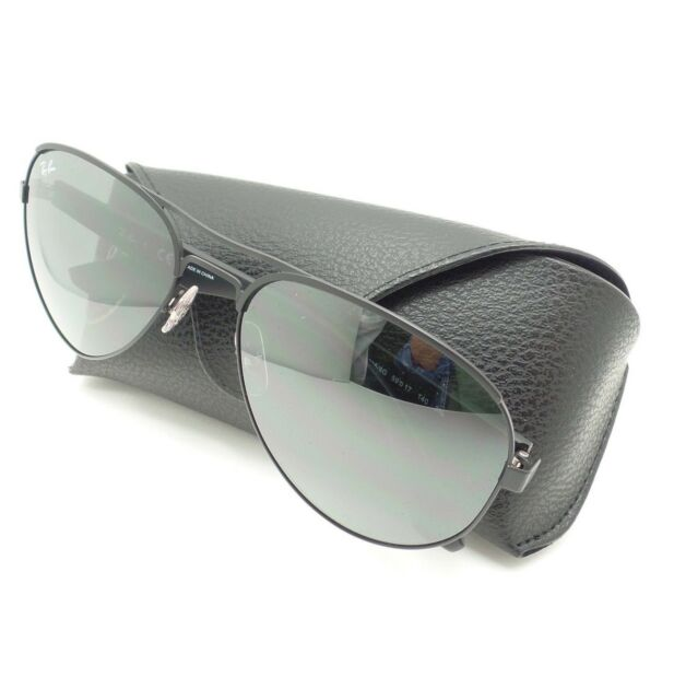 1ff781e4eeb Ray Ban RB 3523 006 6g Matte Black Metal Aviator Sunglasses Silver Mirror  Lens