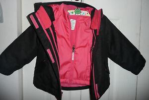50ca88c12 2 in 1 Girls shimmery black pink CHEROKEE fleece winter coat with ...