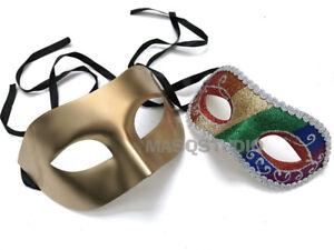Couple Masquerade Ball Mask Costume New Year Black Tie Mardi Gras Carnival Party