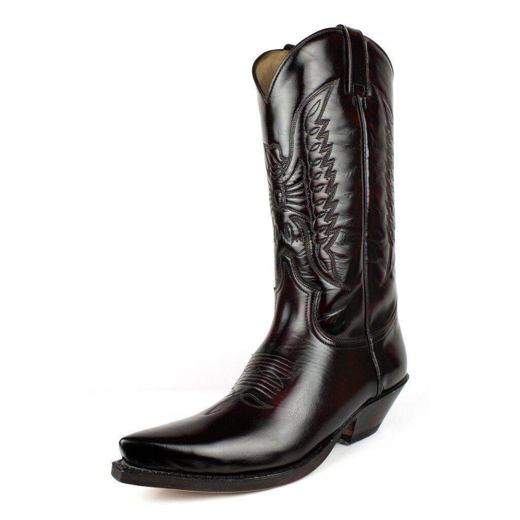 Sendra 2073 Men Cowboy Stiefel Dark Fuchsia Leather Mid Calf Western Stiefel