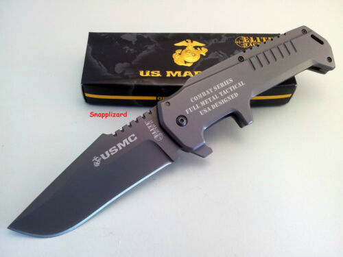 "USMC Elite Warlord GY 5.5""Sub Hilt Folding Pocket Knife HDuty Frame Lock Knife"