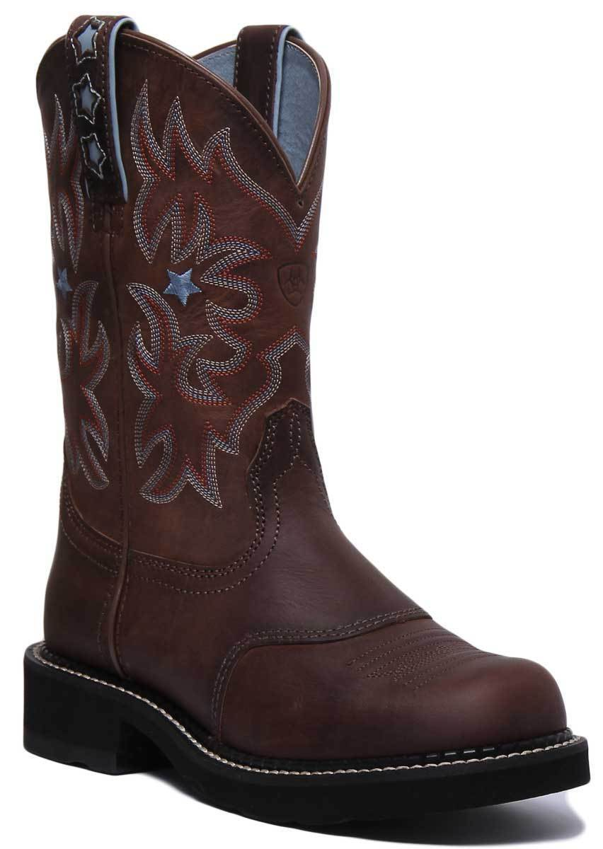 Ariat Probaby Women Leather Brown Mid Calf Western Boots UK Size 3 - 8