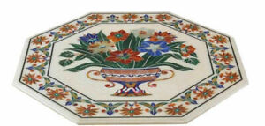 White Marble Coffee Table Top Hakik Pitreadura Flower Vase Inlay Home Decor Arts