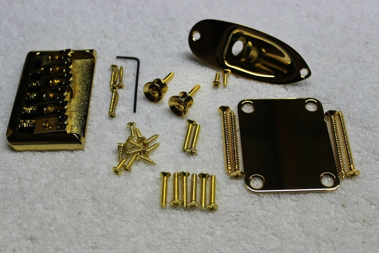New Hardtail Gold Guitar Body Hardware Set - Fender Strat Style