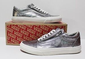 40df33a61f3053 Vans Old Skool Zip Disco Python Silver Blanc de Blanc Men s Size 8 ...