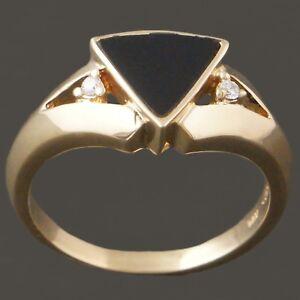 Beautiful-Solid-14K-Yellow-Gold-Onyx-amp-Diamond-Ladies-Estate-Ring