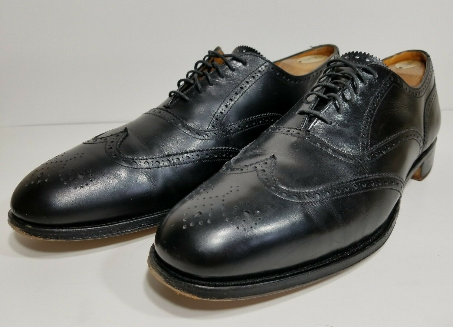 Cole Haan Mens Black Wing Tip Bench Made Oxfords Sz 13 M Made In England