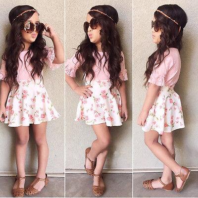 2Pcs Baby Girls Kids Lace Short Sleeve Tops + Flower Skirts Outfits Summer Dress