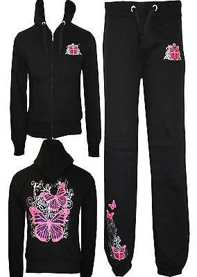 Womens Ladies Butterfly Hoddie Tracksuit Top Jog Jogging Bottoms Trousers S M XL