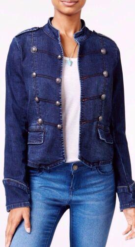 American Rag Denim Military Band Jacket Dark Wash Blue Jean Epaulettes Collar