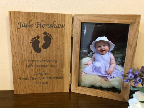 Personalised Wooden 6x4 Book Photo Frame Christening Day or Godparent Gift