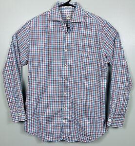 Peter-Millar-Long-Sleeve-Oxford-Shirt-Plaid-Mens-Size-M-White-Red-Blue-EUC