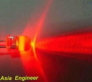 Lot-of-100-X-5mm-Red-Flash-LED-4500mcd-Free-Resistors