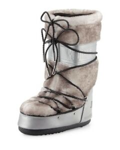 Jimmy-Choo-Moon-Boot-Shearling-Silver-White-size-8-5-US