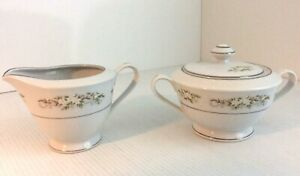 International Silver Co Dinnerware Springtime Creamer & Sugar Bowl White