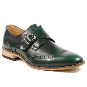UV-SIGNATURE-Men-039-s-Single-Monk-Strap-Wing-Tip-Loafer-Dress-Shoes-Green-Size-11