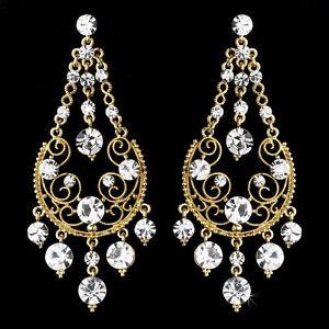 Wedding Bridesmaid Silver Plated Rhinestone Earrings