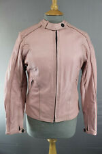 FRANK THOMAS LADY RIDER PINK LEATHER BIKER JACKET WITH THERMAL LINING SIZE 10