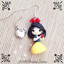 Orecchini Chibi Biancaneve ~ Cute Disney Earrings Fimo Polymer Clay Kawaii Mela