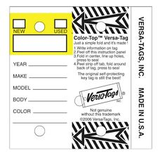 Color Top Yellow Genuine Versa Tag White Key Tags Self Protecting 250 Per