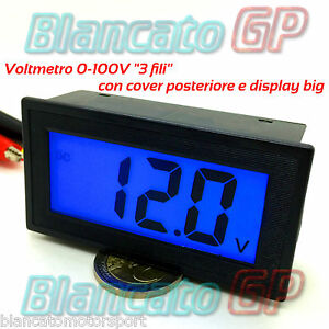 VOLTMETRO-DIGITALE-0-100V-DC-LCD-LED-BLU-misura-tester-da-pannello-auto-camper