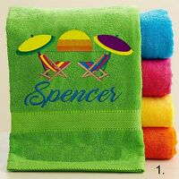Personalized Bath/beach Towel With Free Custom Embroidery - Beach Theme Towel
