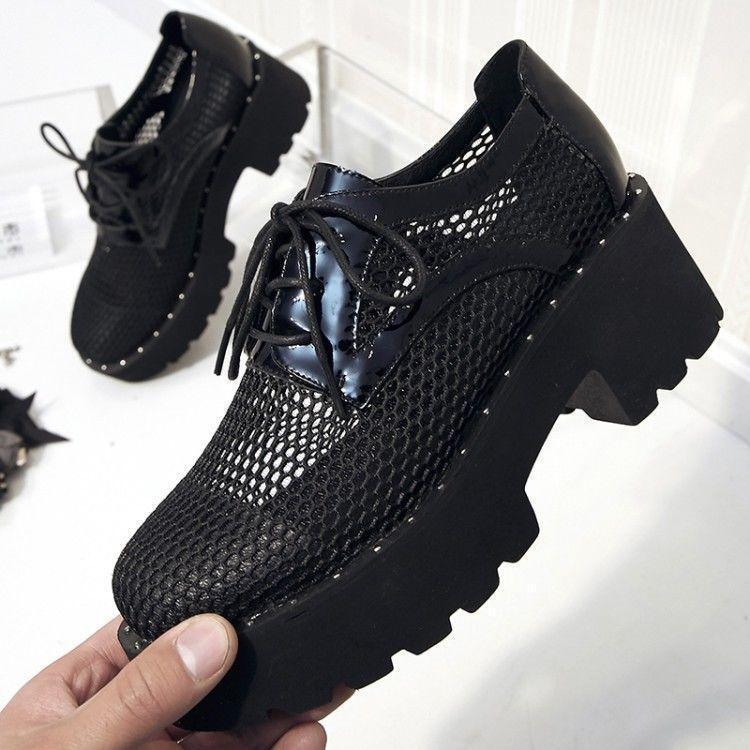 Style coréen femme Hollow Out lace up Gothic Chunky Talons Hauts Cheville bottes chaussures