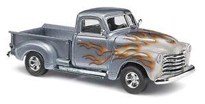 Busch-48294-Chevrolet-Pick-Up-Flames-Silver-Car-Model-1-87-H0