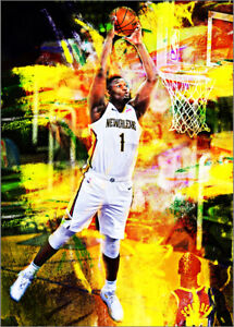 2021-Zion-Williamson-New-Orleans-Pelicans-1-25-Art-ACEO-Yellow-Print-Card-By-Q