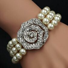 "New Gorgeous 7"" White Glass pearl Multi-Strand Stretch Bracelet 166 Crystal Rose"