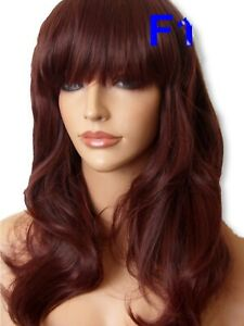 Red Brown hair wig fashion fashion costume wavy curly women full fringe Wigs F18