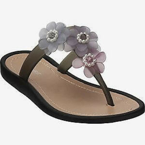 6f3c93947fe6ba NINE WEST NELIA Grey Pink w  Flowers Flip Flops Sandals Thongs NEW ...