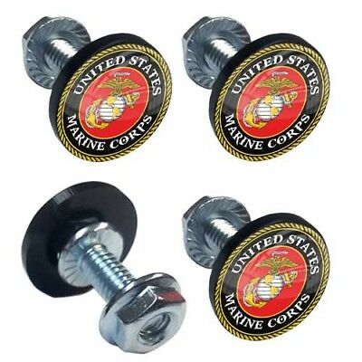 4 Silver Billet Marines License Frame Bolts Motorcycle Custom Tag Bolts