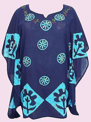 EAONPLUS womens plus size 26-36 deep red tie dye batik kimono kaftan tunic top