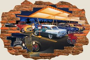 3D-Hole-in-Wall-Rock-A-Billy-50-039-S-America-Diner-View-Wall-Sticker-Decal-1110