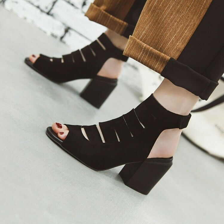 UK Women's Open Toe Hollow Roma Chunky Mid High Heel Strappy Sandals Ankle Boots