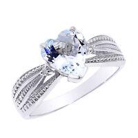 Beautiful 14k White Gold Aquamarine And Diamond Proposal Ring
