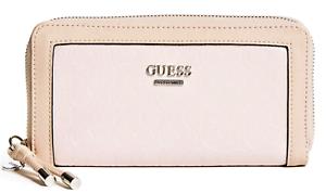 NWT GUESS PREWITT WALLET Blush Pink Logo Zip-Around Clutch Purse GENUINE
