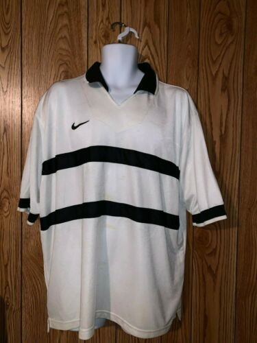 Nike White Striped Polo Rugby Shirt size XL Swoosh