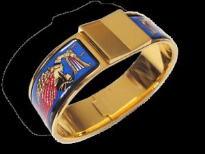 Hermes bluee Enamel gold Ramses Pharaon Clic Clac Bracelet Sz S