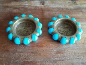 PAIR-OF-VINTAGE-1939-FISHER-JEWEL-TRAYS-WITH-ROBIN-EGG-BLUE-MARBLES